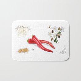 Chilli Peppers and Pollinators Bath Mat
