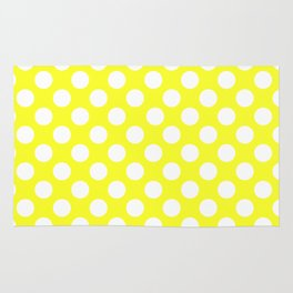 Yellow With Large White Polka Dots Rug