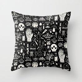 Curiosities: Bone Black Throw Pillow