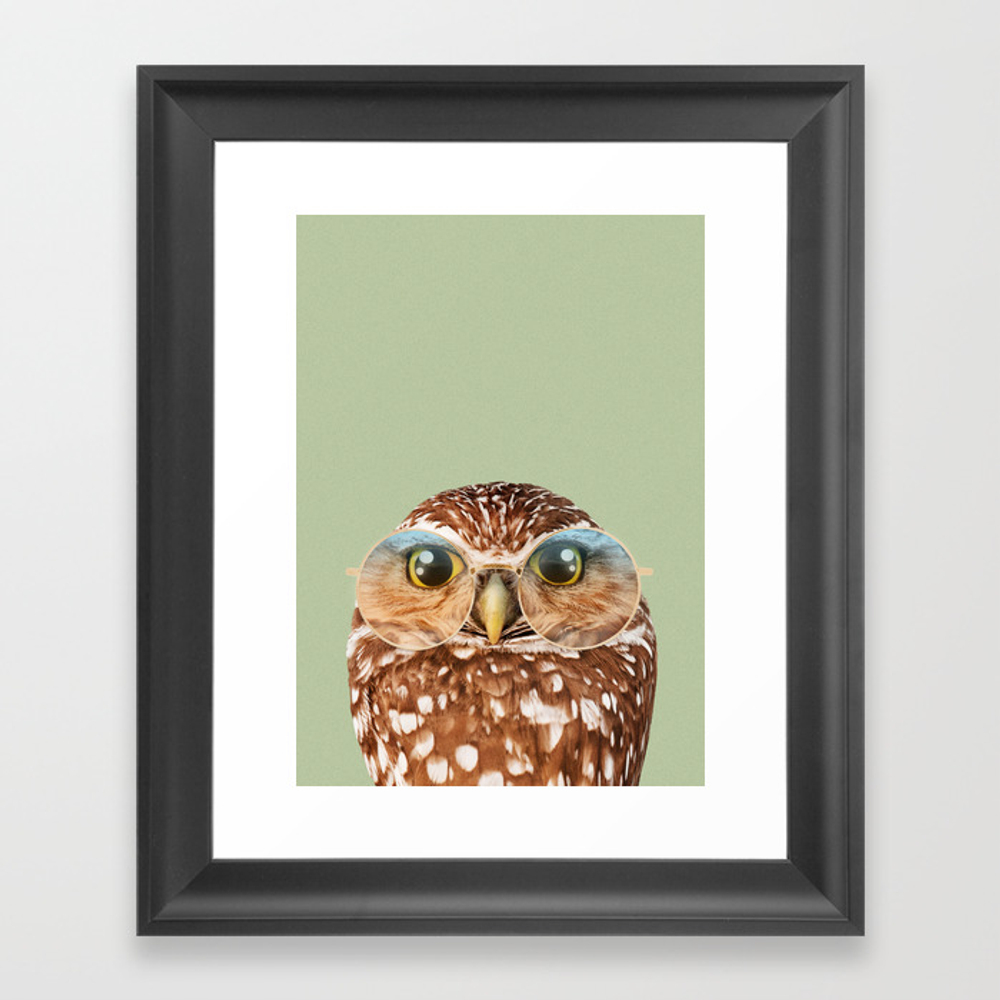 Owl With Glasses Framed Art Print by Jonasloose FRM8733297