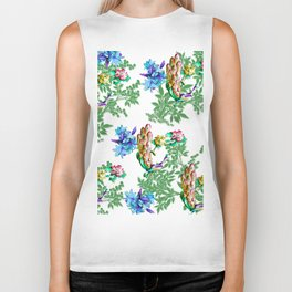 PEACOCK LILY ROSES TROPICAL BLOOM TOILE  PATTERN Biker Tank