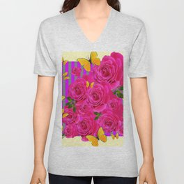 PINK GARDEN ROSES & YELLOW BUTTERFLIES MODERN ART FROM SOCIETY6   BY SHARLESART. Unisex V-Neck