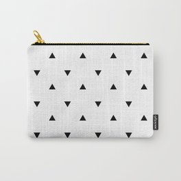 Black and white Triangles geometric pattern Carry-All Pouch