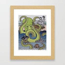Sea Monster Attack Framed Art Print