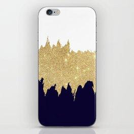 Modern navy blue white faux gold glitter brushstrokes iPhone Skin
