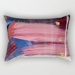 Los Angeles [3]: A vibrant, abstract piece in reds and blues and gold by Alyssa Hamilton Art Rectangular Pillow