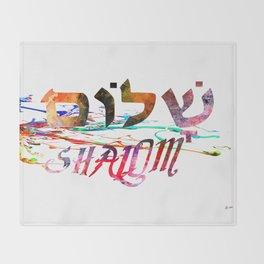 Shalom Hebrew Word Throw Blanket