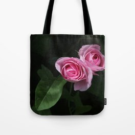 Pink and Dark Green Roses on Black Tote Bag