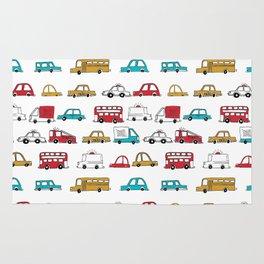 Cars trucks buses city highway transportation illustration cute kids room gifts Rug