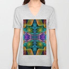 Colorful Fractal Juliascope Unisex V-Neck
