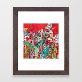 Red floral Jungle Garden Botanical featuring Proteas, Reeds, Eucalyptus, Ferns and Birds of Paradise Framed Art Print
