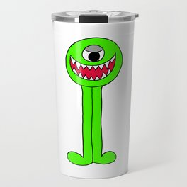 Drawing of a Green Funny looking alien creature Travel Mug