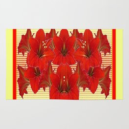 YELLOW CONTEMPORARY CLUSTER RED AMARYLLIS FLOWERS Rug