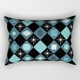 Mid Century Modern Black & Turquoise Diamonds Rectangular Pillow