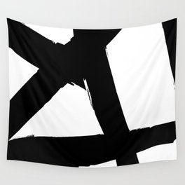 BLACK AND WHITE ABSTRACT BRUSH Wall Tapestry