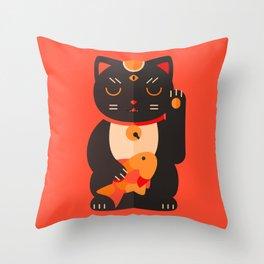 Beckoning Cat Throw Pillow