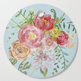 Bouquet of Watercolor on Blue Background Cutting Board