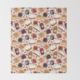 Peanut Butter and Jelly Watercolor Throw Blanket
