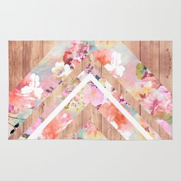 Vintage floral watercolor rustic brown wood geometric triangles Rug