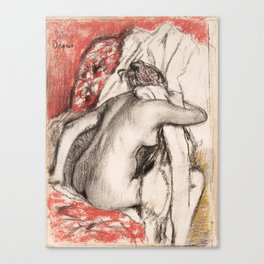 Edgar Degas - After the Bath- Seated Woman Canvas Print