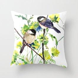 chickadees and Spring Blossom Throw Pillow