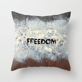 Freedom Pollock Rothko Inspired Black White Red - Modern Throw Pillow