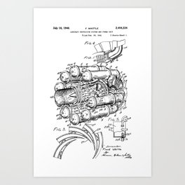 Jet Engine: Frank Whittle Turbojet Engine Patent Art Print