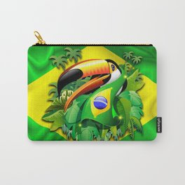 Toco Toucan with Brazil Flag Carry-All Pouch