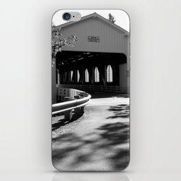 Covered Bridge in Black and White iPhone Skin