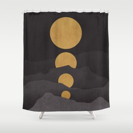 Rise of the golden moon Shower Curtain