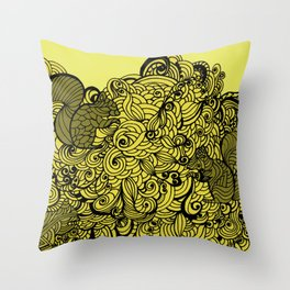 Squirrels Zentangle Drawing Yellow Throw Pillow