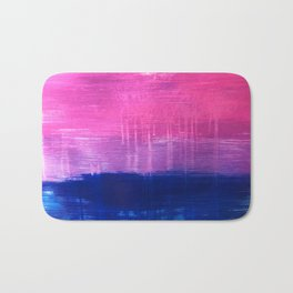 Bisexual Flag: abstract acrylic piece in pink, purple, and blue #pridemonth Bath Mat