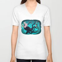 ursula V-neck T-shirts featuring Ursula by Jehzbell Black