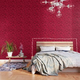 Crimson Red and Burgundy Red Labyrinth Wallpaper