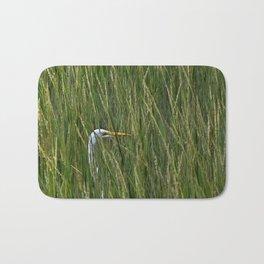 Egret in Tall Reeds Bath Mat