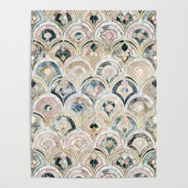 Art Deco Marble Tiles in Soft Pastels Poster