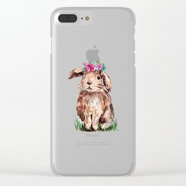 Bunny with Flower Crown Clear iPhone Case