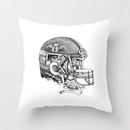 Football Helmet Throw Pillow