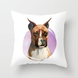 Boxer Dog Watercolor Painting 2 Throw Pillow