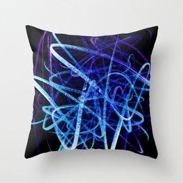 Electric Blue Flow Throw Pillow