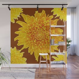 Coffee Brown Color Golden Yellow Chrysanthemums Wall Mural