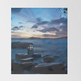 Tardis On The Sea Stone Throw Blanket