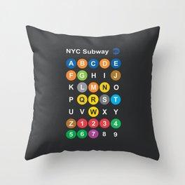 New York City subway alphabet map, NYC, lettering illustration, dark version, usa typography Throw Pillow