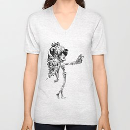 Reaching Robot Unisex V-Neck