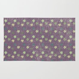 Vintage mauve purple green abstract leaves pattern Rug