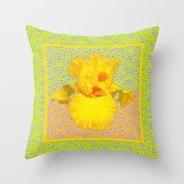 Lemon-Green-Yellow Patterned Yellow Iris Art Design Throw Pillow