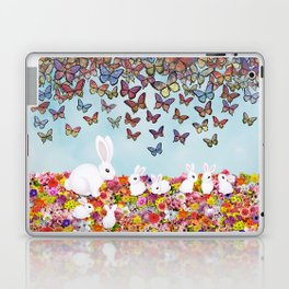 bunnies, flowers, and butterflies Laptop & iPad Skin