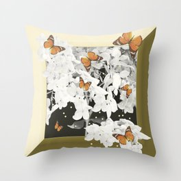 Hydrangea And Butterflies in Frame #decor #society6 Throw Pillow