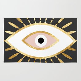 gold foil evil eye in blush Rug