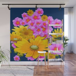 BLUE COLOR PINK-YELLOW FLOWER GARDEN ART Wall Mural